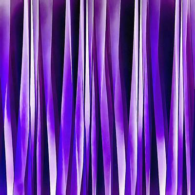 Digital Art -  Royal Purple, Lilac And Silver Stripy Pattern by Tracey Harrington-Simpson