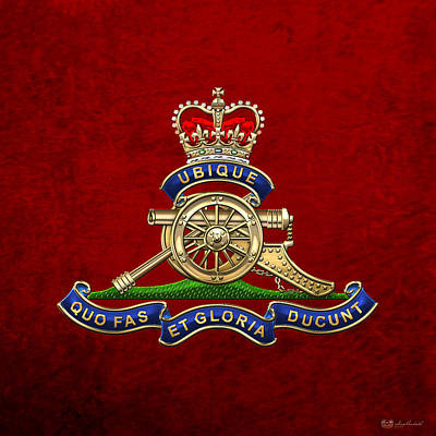 Digital Art - Royal Regiment Of Canadian Artillery - Rca Badge On Red Leather by Serge Averbukh