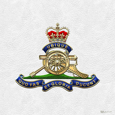 Digital Art - Royal Regiment Of Canadian Artillery - Rca Badge On White Leather by Serge Averbukh