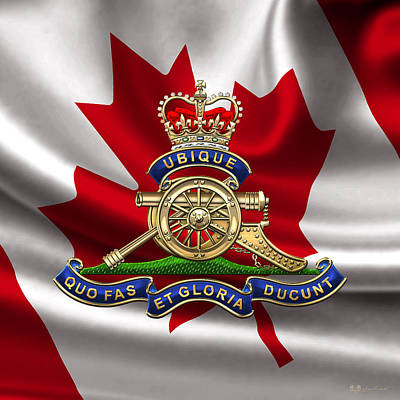 Digital Art - Royal Regiment Of Canadian Artillery  - Rca Badge Over Waving Flag by Serge Averbukh