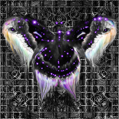 Digital Art - Royal Saturniidae - Black by Iowan Stone-Flowers