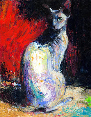 Sphynx Cat Painting - Royal Sphynx Cat Painting by Svetlana Novikova