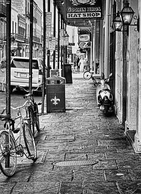 Fleurs De Lis Bicycle Photograph - Royal Street - French Quarter - New Orleans - B/w 2 by Greg Jackson