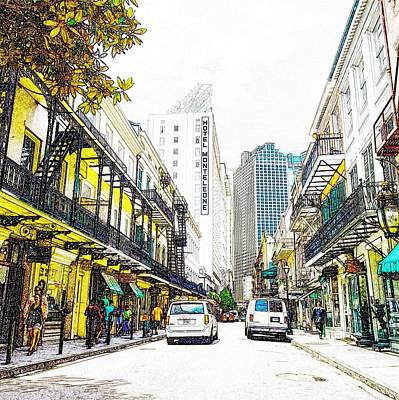 Mixed Media - Royal Street New Orleans Hotel Monteleone by Paul Wilford