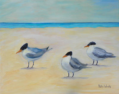 Painting - Royal Terns On St. Augustine Beach by Patty Weeks