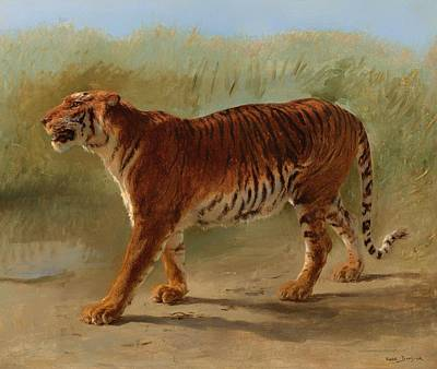 Wildlife Landscape Painting - Royal Tiger Walking by Mountain Dreams
