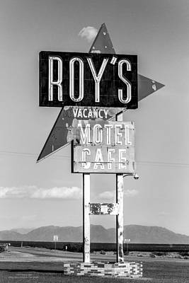 Photograph - Roys Motel And Cafe Bw by Denise Dube