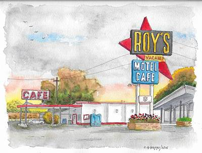 Roy Painting - Roy's Motel Cafe In Route 66, Amboy, California by Carlos G Groppa
