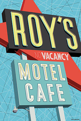 Retro Wall Art - Digital Art - Roy's Motel Cafe Pop Art by Jim Zahniser