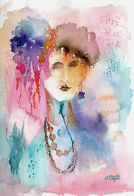 Women Portraits Painting - Rozz by Arline Wagner