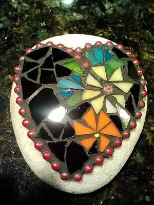 Glass Art - Rock Heart Black by Liz Lowder
