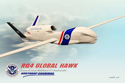 U2 Digital Art - Rq4 Global Hawk Drone United States by John Wills