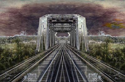 Bed Quilts Mixed Media - Rr Bridge Textured Composite by Thomas Woolworth