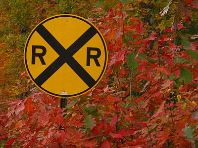 Photograph - Rr Crossing Autumn Colors by Bill Tomsa