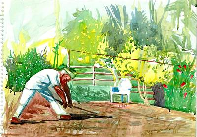 Maharashtra Painting - Tatya Working In Agro Garden by Makarand Joshi
