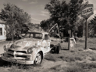 Old Tow Truck Photograph - Rt 66 Towing, Monochrome by Gordon Beck