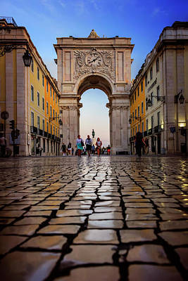 Old World Photograph - Rua Augusta Arch Lisbon by Carol Japp