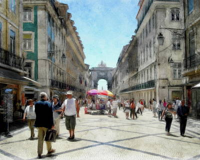 Digital Art - Rua Augusta Street Scene by Anthony Dezenzio