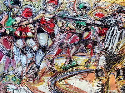 Rubber City Roller Girls Print by Terry Brown