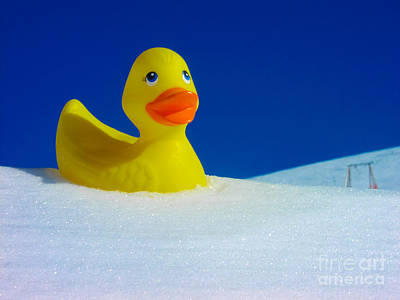 Rubber Duckie In Snow Art Print by Kimberly Blom-Roemer
