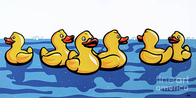 Rubber Ducky Wall Art - Painting - Rubber Ducks by James Lee