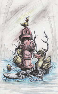 Fire Hydrant Mixed Media - Rubber Ducky Dynasty by Tai Taeoalii