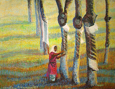 Painting - Rubber Tapping At Dawn by Art Nomad Sandra  Hansen