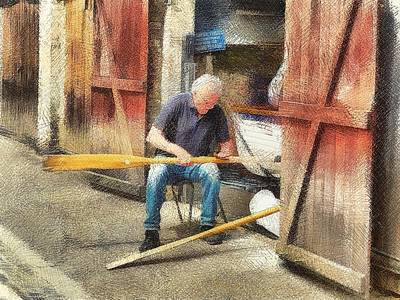Photograph - Rubbing Down The Oars by Leigh Kemp