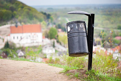Kazimierz Photograph - Rubbish Bin On The Hill And Blurred Dale View  by Arletta Cwalina