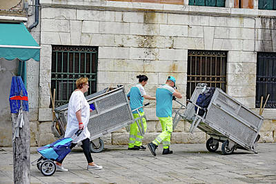 Photograph - Rubbish Collection Personnel In Venice, Italy by Richard Rosenshein