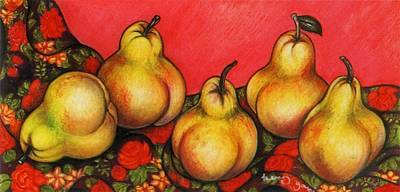 Pastel - Rubenesque Pears by Richard Lee