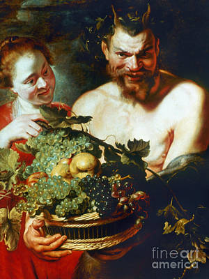 Grapevines Painting - Rubens: Faun And Nymph by Granger