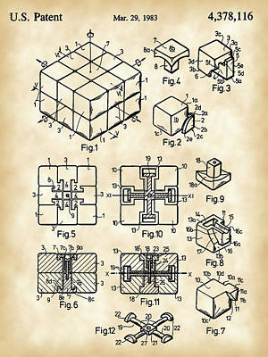 Rotate Digital Art - Rubik's Cube Patent 1983 - Vintage by Stephen Younts