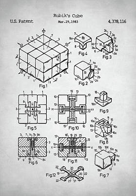 Digital Art - Rubik's Cube Patent by Taylan Apukovska