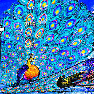 Painting - Blue Peacock                                 by Tony Rubino