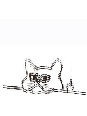 Drawing - Rubino Cat Finger by Tony Rubino