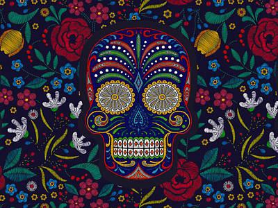 Painting - Rubino Floral Skull by Tony Rubino