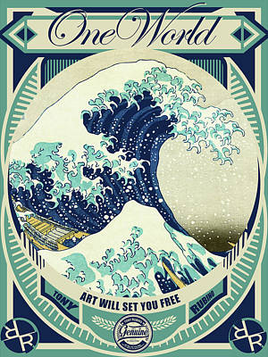 Painting - Rubino One World Great Wave by Tony Rubino