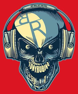 Painting - Rubino Skull In Headphones by Tony Rubino