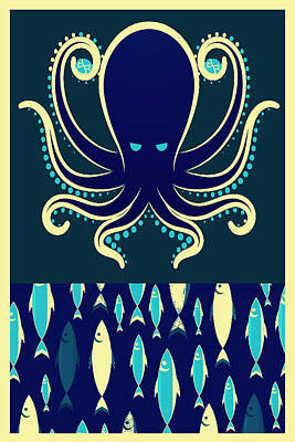 Painting - Rubino Zen Octopus Blue by Tony Rubino