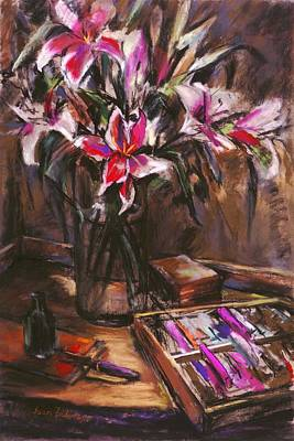Boxes Painting - Rubirosa Lilies by Joan  Jones