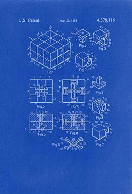 Rubix Cube Patent Drawing 1983 Blueprint Art Print