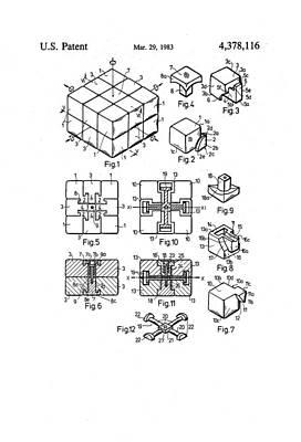 Rubix Cube Patent Drawing 1983 Bw Art Print
