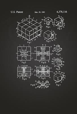 Rubix Cube Patent Drawing 1983 Chalkboard Art Print