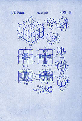 Rubix Cube Patent Drawing 1983 Art Print