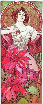 Painting - Ruby by Alphonse Mucha