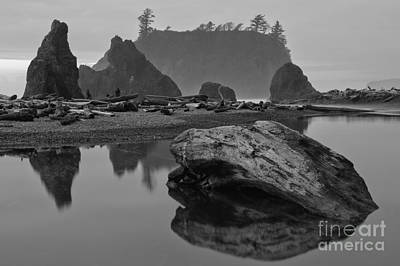 Washington Driftwood Beach Fog Wall Art - Photograph - Ruby Beach Stormy Silhouettes - Black And White by Adam Jewell