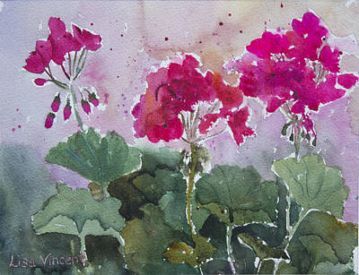 Painting - Ruby Geraniums by Lisa Vincent