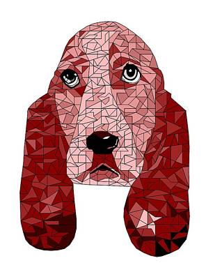 Basset Digital Art - Ruby In Red by David Smith