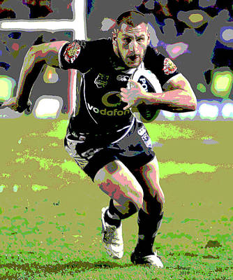 Rugby Mixed Media - Rugby Player by Charles Shoup